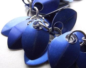 Cobalt Blue Small Scale Shag Bracelet, Aluminum Bracelet, Scalemail, Chainmail
