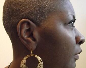 Medium Laser Cut Golden Filigree Medallion Earrings, Gold Earrings