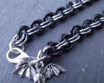 Halloween Black and Silver Aluminum Bracelet,  Mobius Chainmail, Bat Bracelet, Chainmail Bracelet, Aluminum Bracelet