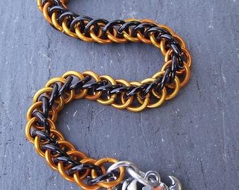 Halloween Black and Orange Half Persian Chainmail Bracelet, Haunted House Bracelet, Aluminum Chainmail Bracelet