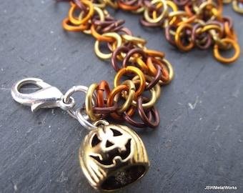 Halloween Harvest Jack O'Lantern Bracelet, Orange, Gold and Brown, Shag Aluminum Chainmail Bracelet