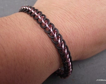 Pink and Black Stretch Chainmail Bracelet, Aluminum Bracelet, Chainmaille Bracelet