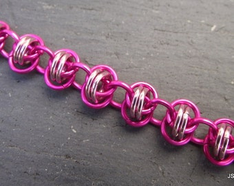 Pink Barrel Weave Aluminum Chainmail Bracelet, Aluminum Bracelet, Chainmaille