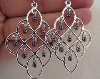 Shiny Silver Chandelier Earrings Gunmetal Glass Drops, Silver Earrings