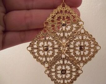 Huge Golden Chandelier Earrings, Gold Earrings, Large Earrings, Statement Jewelry, Gift for Her