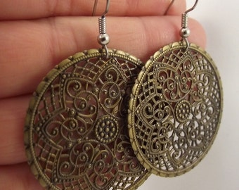 Ornate Medallion Earrings, Antiqued Brass Earrings