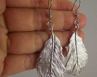 Bold Silver Feather Earrings, Silver Earrings