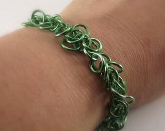 Light Green Chainmaille Bracelet, Aluminum Chainmail Bracelet