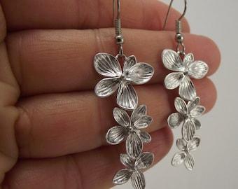 Cascading Silver Flower Earrings, Silver Earrings