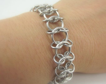 Unisex Centipede Aluminum Bracelet, Chainmaille Bracelet, Chainmail Bracelet, Chain Mail, Renaissance Faire, Gift for her, Gift for him