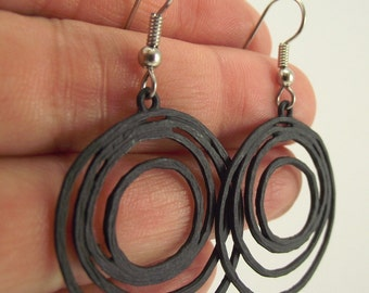 Black Loopy Earrings, Black Earrings, Organic Circles
