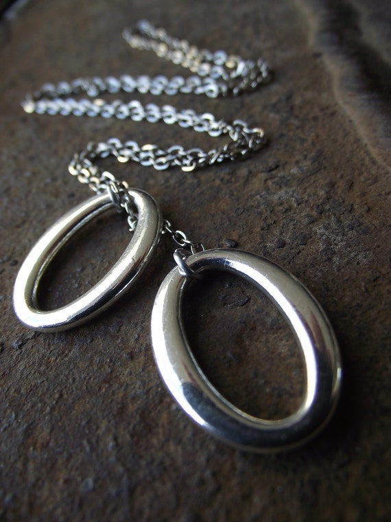 Seeing Double - Smooth Oval Lariat, Silver Necklace, Silver lariat