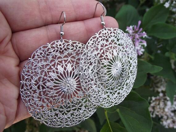 Lacy Silver Filigree Medallion Earrings, Silver Earrings