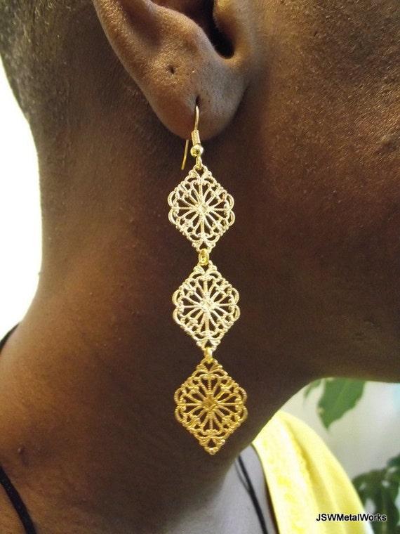 Cascading Diamonds, Golden Filigree Earrings, Gold Earrings, Gold Drop Earrings, Long Earrings, Gift for her, Gift under 20