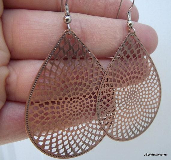 Medium Antiqued Copper Teardrop Disco Earrings, Copper Earrings