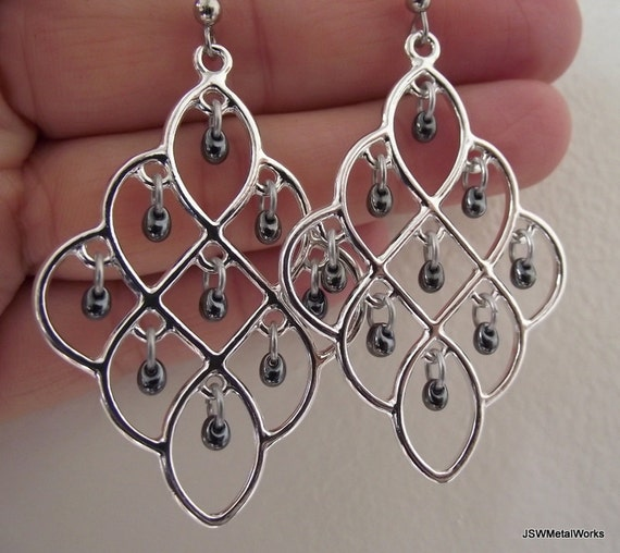 Shiny Silver Chandelier Earrings Gunmetal Glass Drops, Silver Earrings