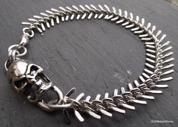 Skull and Bones Bracelet, Skull and Spine Silver Bracelet