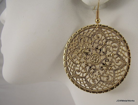 Ornate Medallion Earrings, Gold Earrings