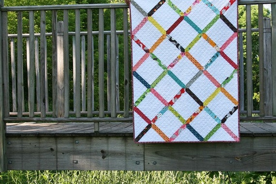 a flea market fancy lattice baby quilt - reserved for Hearnie