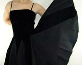 Vintage Velvet and Satin Black Strapless DRESS with, Evenings by Pantagis, 1960