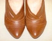 Vintage Brown Leather High Heels 7.5