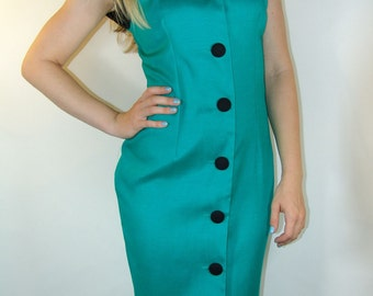 Vintage Green and Black Button Front Dress NEVER WORN