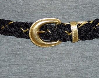 Vintage Black and Gold Woven Belt Never Worn