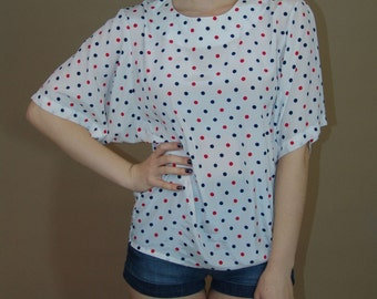 Vintage White Top Tunic with Polka Dots