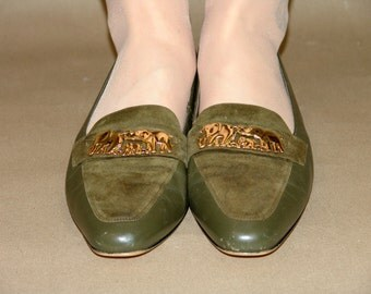 Vintage Olive Flats SHOES, Ros Rhomerson, 1970s