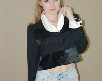 Vintage 70s Black and White Cropped Jacket