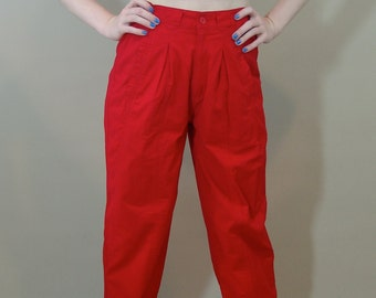 Vintage   Red High Waisted PANTS, Le Zur, 1980s