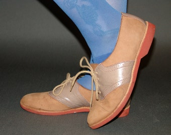 Vintage Suede and Leather  Lace Up Oxfords Brogues Shoes
