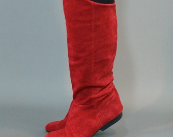 Red Suede Tall Boots - Size 7