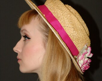 Vintage Straw hat with Flower