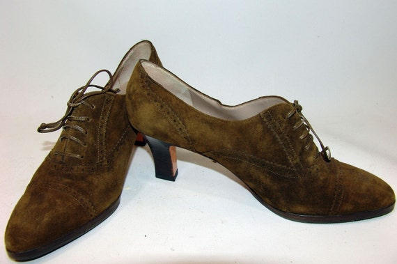 Vintage Salvatore Ferragamo Olive Green Oxfords 7 - 7 1/2