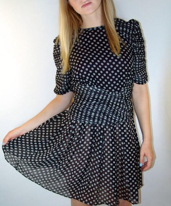 Vintage Navy Polka Dot Dress