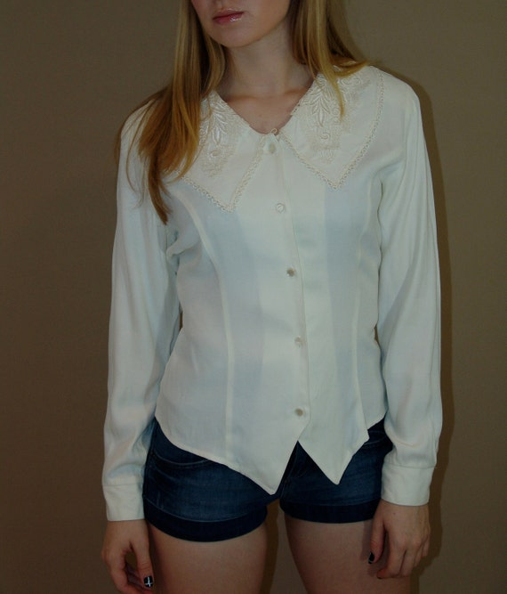 Vintage Ivory Blouse, Petite sophisticated & co, 1980s