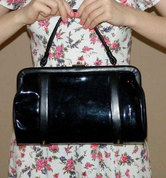 Vintage 60s Black Patent Leather Purse