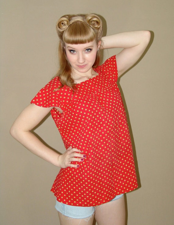 Vintage 70s Baby Doll Red Shirt