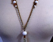 CLOSING SALE Seventies gold and white tassel necklace