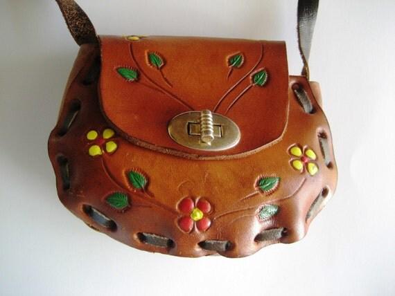 Vintage tooled leather hippie boho shoulder bag purse