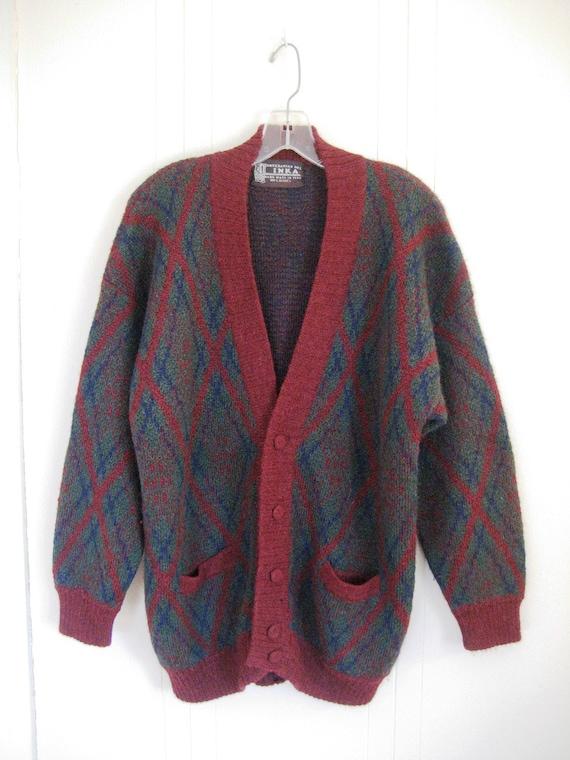 Vintage Alpaca Grandpa Sweater Hand Made In Peru