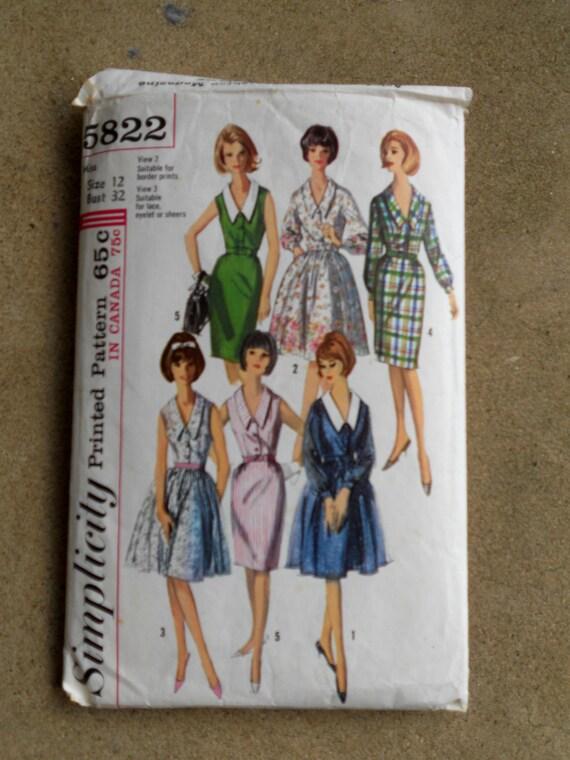 Vintage Simplicity dress pattern Size 12 Sixties
