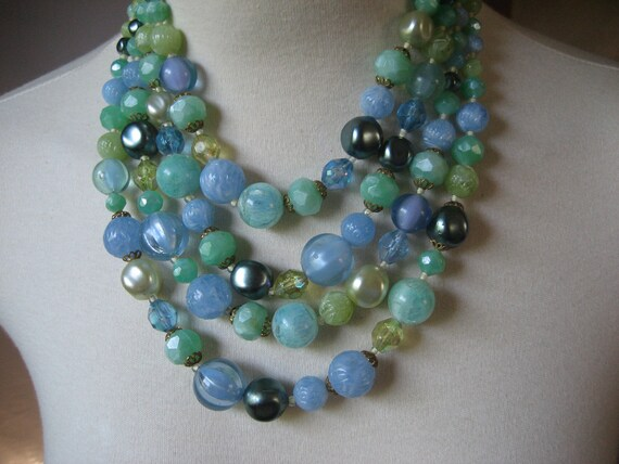 CLOSING SALE Vintage four-strand bead necklace lucite W. Germany