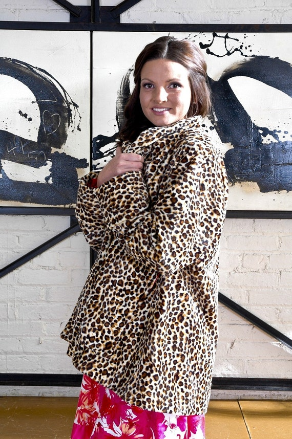 Sale 1940s Inspired Leopard Coat Faux Fur by Tracy McElfresh