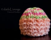 New Style - OOAK Newborn Dual-Tone Ruffled Beanie Hat - Apricot Spring Rose - Spring Collection