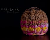OOAK Newborn Dual-Tone Beanie Hat - Chocolate and Fuchsia Lilac Gold - Spring Collection