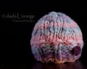 OOAK Newborn Wide Ribbed Edge Reversible Beanie Hat with Removable Felt Flower - Coral Lilac Haze - Spring Collection