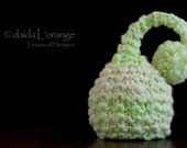 OOAK Newborn Ruffle Waves Pixie Elf Hat - Ivory Lime - Spring Collection