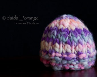 OOAK Newborn Textured Beanie Hat - Bright and Girly - Bright and Bold Collection